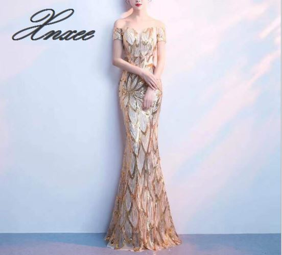 Banquet dress female 2019 new summer elegant elegant word shoulder fishtail dress