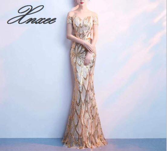 연회 드레스 여성 2019 새로운 여름 우아한 우아한 단어 어깨 fishtail 드레스-에서드레스부터 여성 의류 의  그룹 1