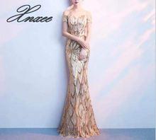 Banquet dress female 2019 new summer elegant word shoulder fishtail