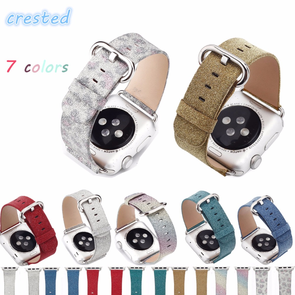 купить CRESTED leather watch strap for apple watch band 42 mm/38 Luxury Glittery Bling bracelet belt for iwatch band 1/2 Christmas gift по цене 526.65 рублей