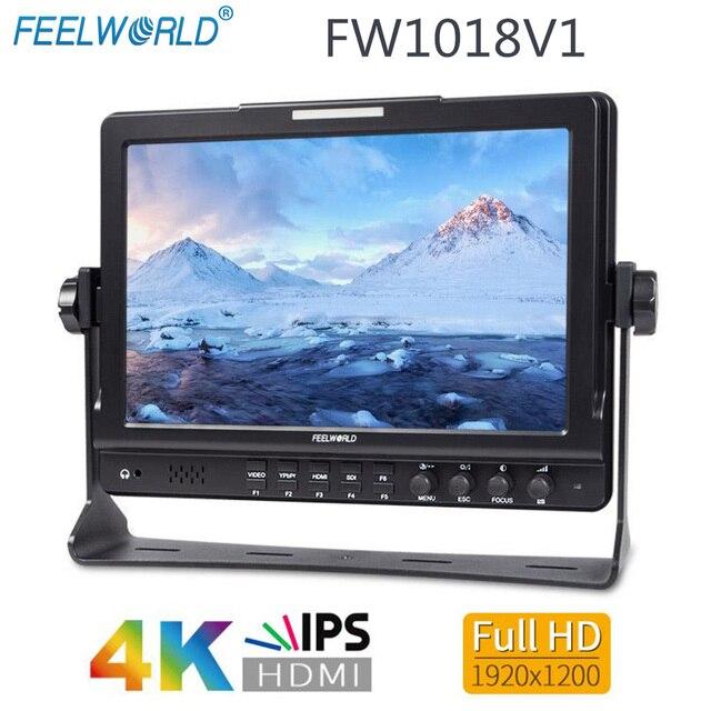 """Feel world FW1018V1 10.1 """"IPS 4K HDMI كاميرا جهاز المراقبة الميدانية كامل HD 1920x1200 شاشات كريستال بلورية ل DSLR فيديو فيلم اطلاق النار ستابليزر"""