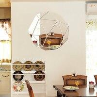 Modern Geometry Diamond Pattern 3D Reflective Decorative Mirror Wall Stickers Mirror Sticker Living Room Decoration Wall Decor