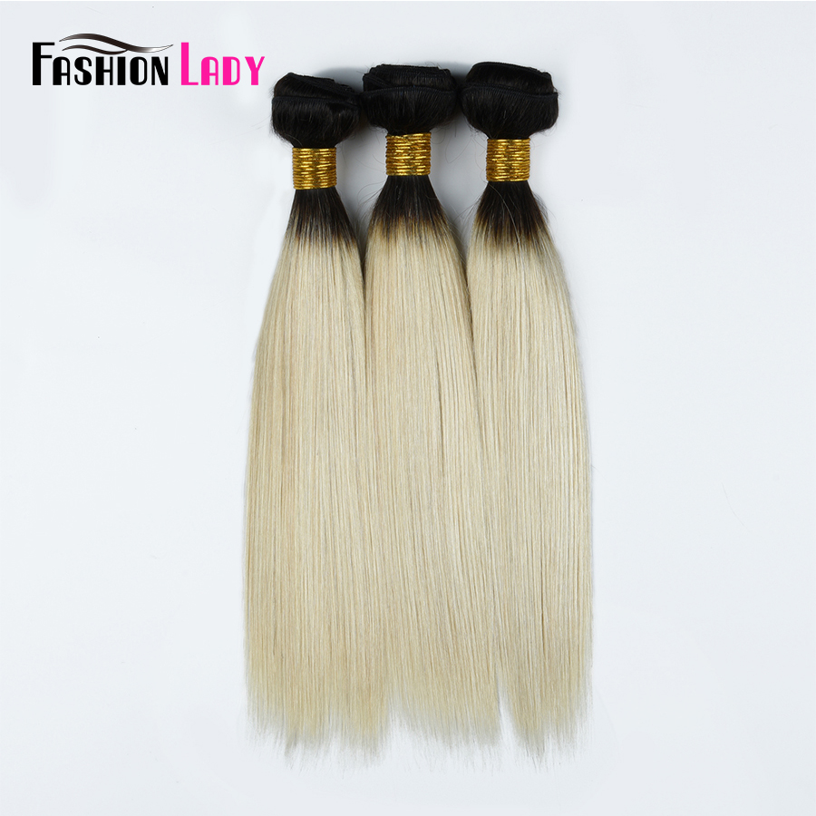 Fashion Lady Pre-Colored Ombre Platinum Blonde Human Hair 12inch To 16inch Peruvian Straight Hair Weave 1B 60 Remy Hair
