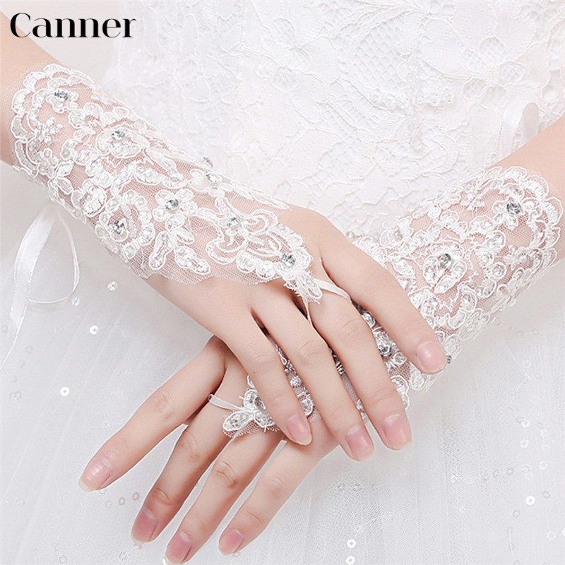 Canner White Short Wedding Gloves Elegant Women Fingerless Bridal Gloves Paragraph Rhinestone Sunscreen Wrist Length Mittens