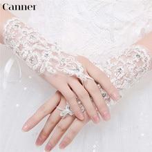 Canner White Short Wedding Gloves Elegant Women Fingerless Bridal Paragraph Rhinestone Sunscreen Wrist Length Mittens