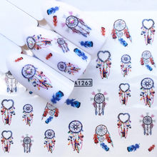 1 Pcs Colorful Wind chime Nail Stickers Animal Water Decal Ocean Cat Plant Pattern 3D Manicure Sticker DIY Nail Art Decoration(China)