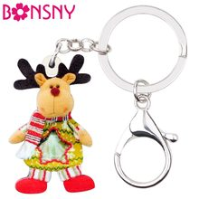 Bonsny Acrylic Christmas Deer Stag Toy Key Chain Keychain Ring Holder Gift Xmas Jewelry For Women Girls Bag Charms Pendant Natal(China)