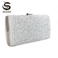 2015 Gold Clutch Bags Woman Evening Bag Diamond Rhinestone Clutches Crystal Wallet Wedding Purse Party Banquet