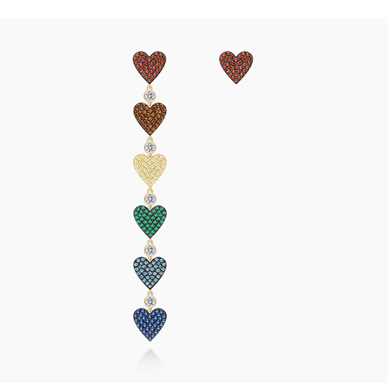 SLJELY Luxury 925 Sterling Silver Asymmetric Rainbow Love Heart Long Drop Earring Multicolor Cubic Ziconia Stones