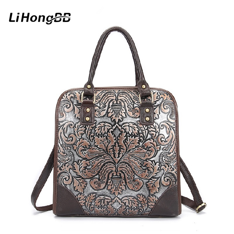 2017 Fashion Design Genuine Leather Female Handbags Floral Print Women Shoulder Bags Casual Ladies Large Tote Bag Bolsa Feminina
