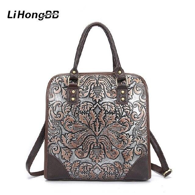 2017 Fashion Design Genuine Leather Female Handbags Floral Print Women Shoulder Bags Casual Ladies Large Tote Bag Bolsa Feminina