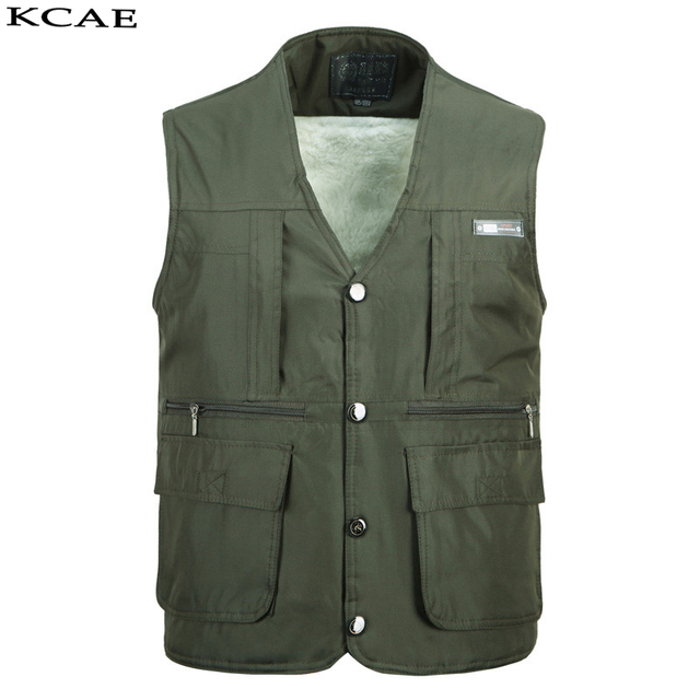 2016 Mens Work Vest Winter thickening Multi-Pockets Photography Vests Reporter Director Shooting Military Vest