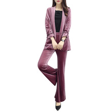 Quality Women's Gold Velvet Casual Fashion Spring and Autumn Large Size Slim Professional S