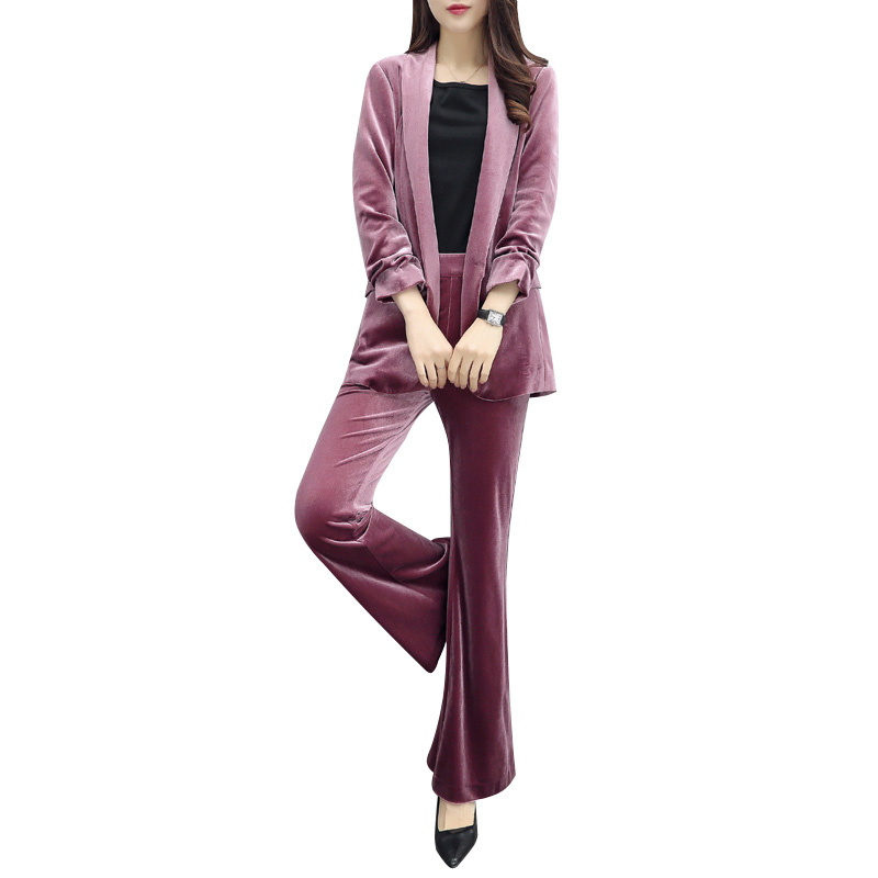 Quality Womens Gold Velvet Casual Fashion Spring and Autumn Large Size Slim Professional Suit Jacket + Bell Pants Suit Set TB18