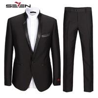 Seven7 באיכות גבוהה חליפת צווארון מנדרינה רשמיות Mens כושר רגיל צפצף המעיל האחרונים עיצוב טוקסידו סט חליפת עסקי נשף 107C12040