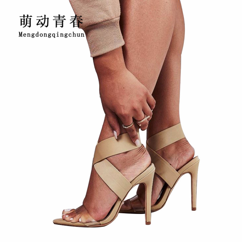 Party Slip Toe Neue Beige Hohe Sexy Sandalen Marke Peep red Pvc Frauen Sommer Stoff Heels Wrap On Ankle Klar Stretch black IqwXwSZB