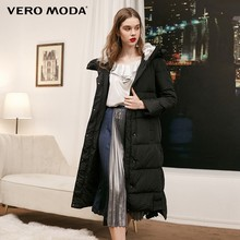 Vero Moda new detachable rabbit fur hooded long down jacket women | 318312503(China)