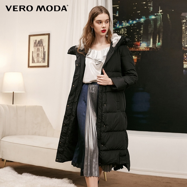 Vero Moda new detachable rabbit fur hooded long down jacket women   318312503 1