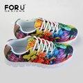FORUDESIGNS Дышащие Ботинки Женщин Печати Цветочные Дамы Тренеры Удобные Женщин Обувь Для Ходьбы Женщина Zapatillas Mujer