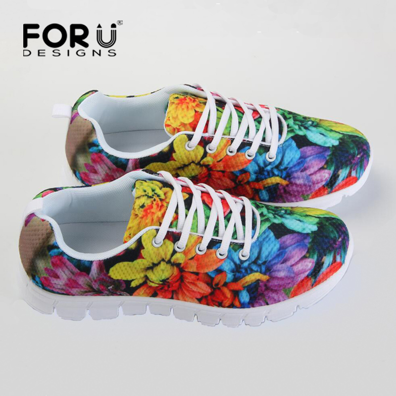 FORUDESIGNS Breathable Women Shoes Printing Floral Ladies Trainers Comfortable Women Walking Shoes Female Zapatillas Mujer free shipping candy color women garden shoes breathable women beach shoes hsa21