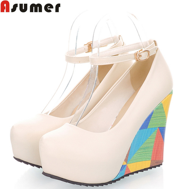 ASUMER 2018 new arrive fashion sexy wedges high heels women pumps PU leather ladies peep toe wedding shoes woman HH853