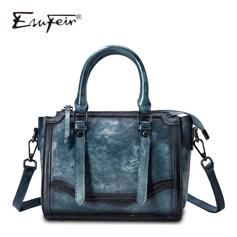 2018 ESUFEIR Brand Genuine Leather Luxury Handbag Women Bag Designer Vintage Women Shoulder Bag High Quality Female Tote Handbag high quality women s 100% genuine leather brand handbag vintage dumplings shoulder bag women s shell handbags tote dhl fedex ems