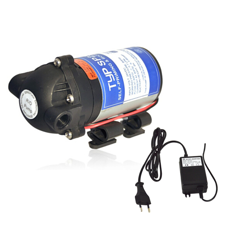 24V 50GPD Water Booster Pump with Transformer Input 100-240V, Output 24V increase Reverse Osmosis System Pressure/two pin plug 300 gpd water filter ro booster pump for reverse osmosis drinking water