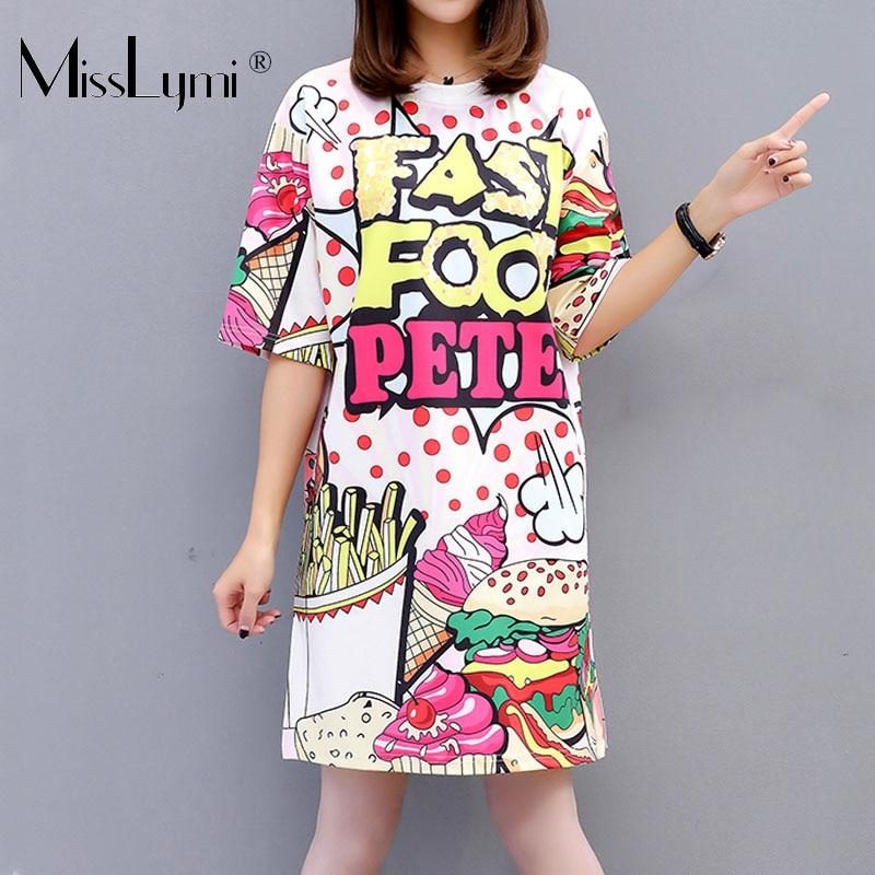 M-xxl Big Size Women T Shirt Dress Summer 2019 Hamburger And Fries Print Short Sleeve White Loose Casual Beach Short Dresses For Sale