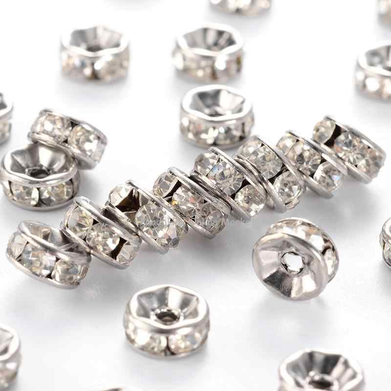 200pcs 6mm Stainless Steel Disc Spacer Rhinestone Beads Charms DIY Jewelry