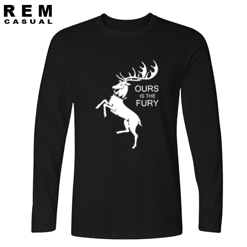 product The song of ice and fire Game of Thrones cotton Long sleeve T-shirt tee men House Bara thoen Our is the Fury