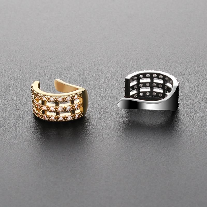 Fashion Crystal Clip Earrings No Piercing Gold Silver Color Fake Ear Cuff Conch Cartilage Ear Cuff Earrings For Women