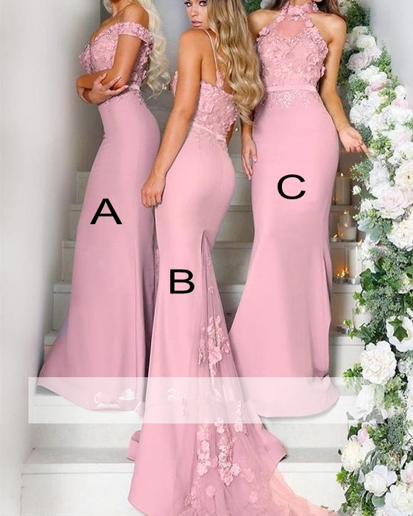 Pink 2019 Cheap   Bridesmaid     Dresses   Under 50 Mermaid Halter Flowers Long Wedding Party   Dresses   For Women