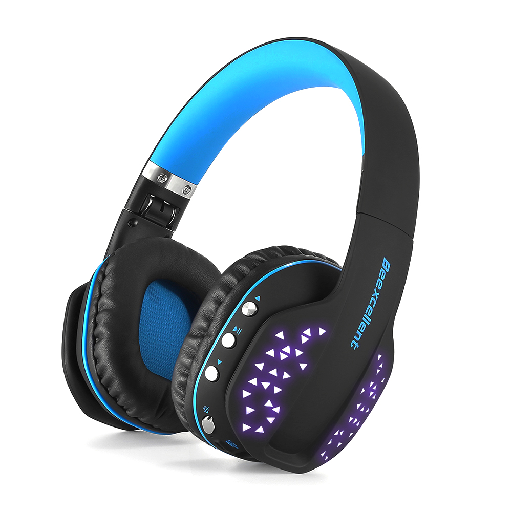 Beexcellent Q2 Wireless Bluetooth Headset w/ LED Light Headband Gaming Headphone Folding Stereo Music Earphone For Laptop Phone