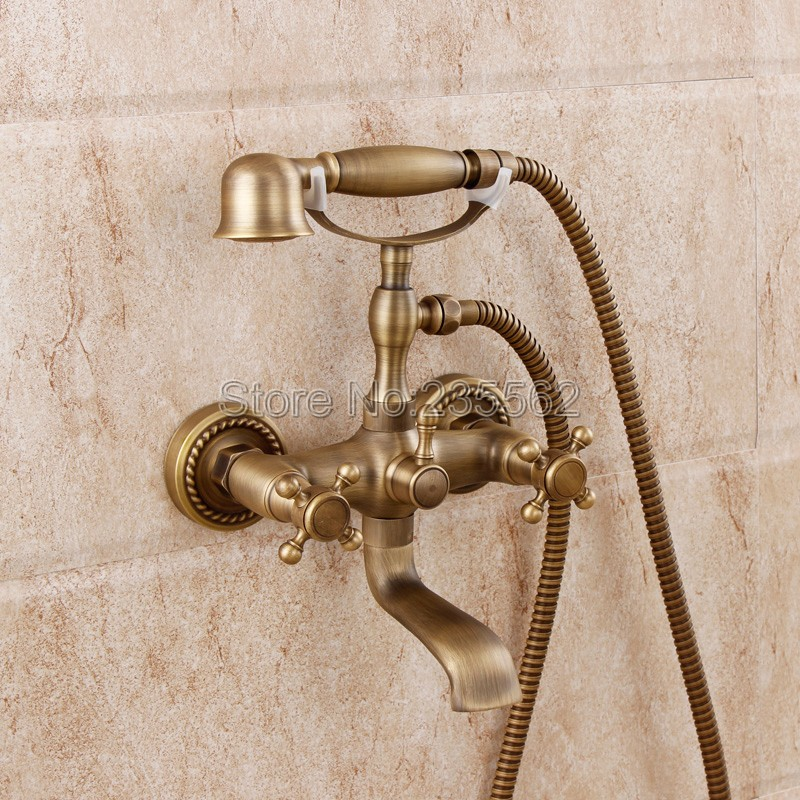 Antique Brass Finish Bathroom Shower Taps Wall Mounted Bathtub Faucet Set Dual Handle Cold and Hot Water Mixer Tap ltf351 antique bathroom single handle wall mounted bathtub shower set mixer set faucet tap bathroom shower free shipping hj 6053