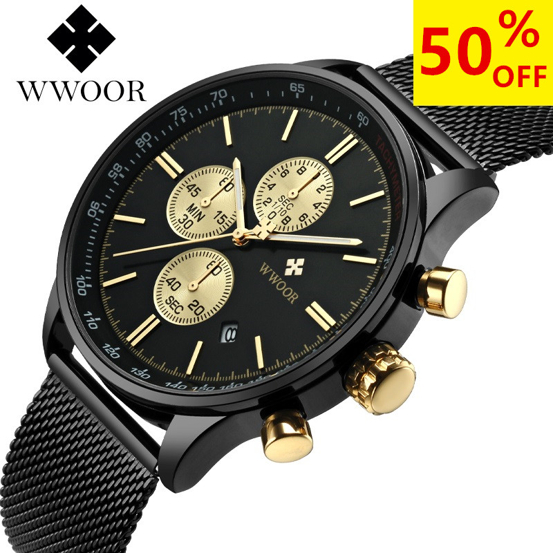 Brand Luxury Watch Men Chronograph Sport Watches Male Casual Men's Quartz Stainless Steel Sports Wrist Watch Famous WWOOR Clock men watches brand wwoor men s watch famous casual quartz watches stainless steel wristwatches waterproof male clock reloj