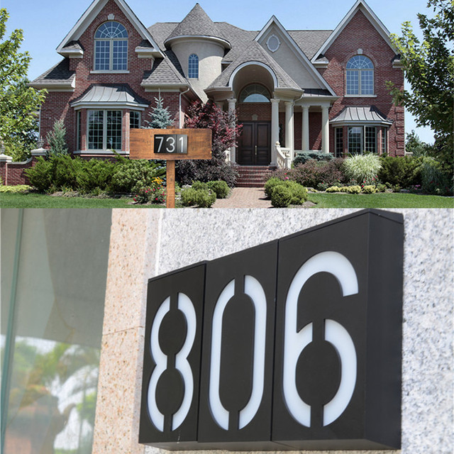 Waterproof Arrival Solar Number Led Light Sign House Hotel Door Address Plaque Mailbox Digit Plate