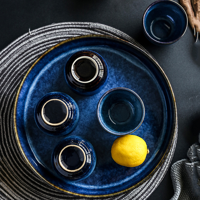 Deep Blue Vegetable Tray &  Tea Cup Set