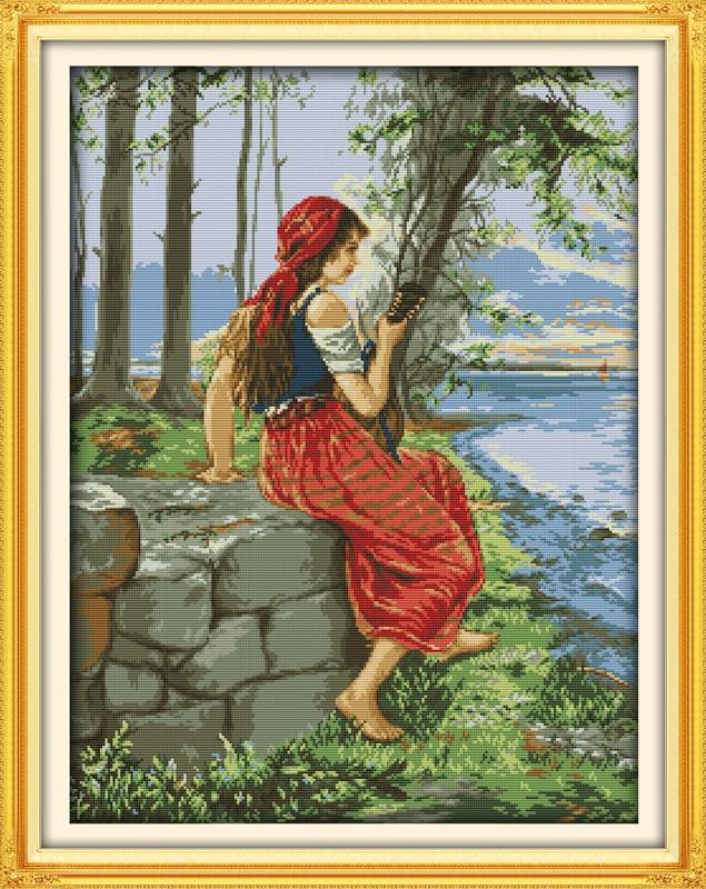 여자를보고 바다를 보면서 인쇄 된 캔버스 DMC 계산 된 크로스 스티치 키트 인쇄 크로스 스티치 세트 자 수 바느질 작업