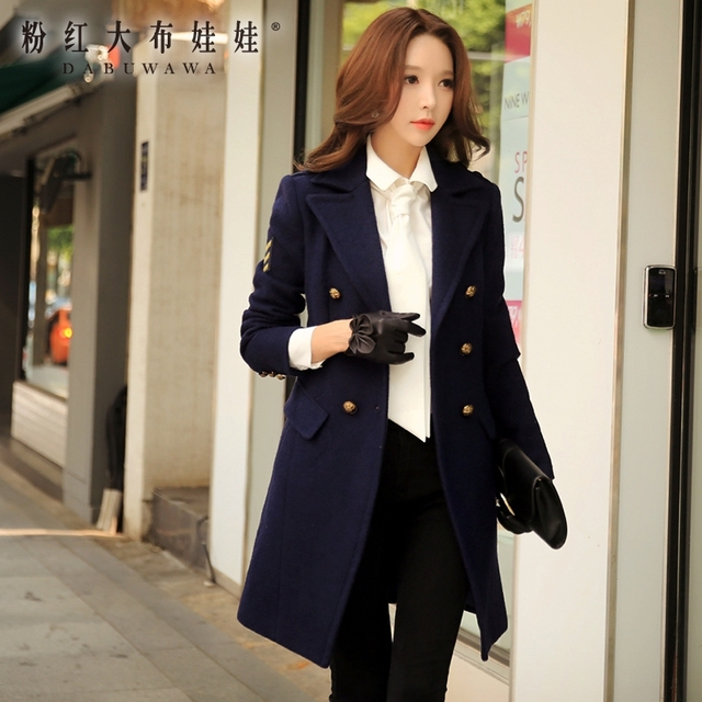 32727409eb6 dabuwawa wool coat long 2016 women s autumn and winter new korean military  style double breasted wool