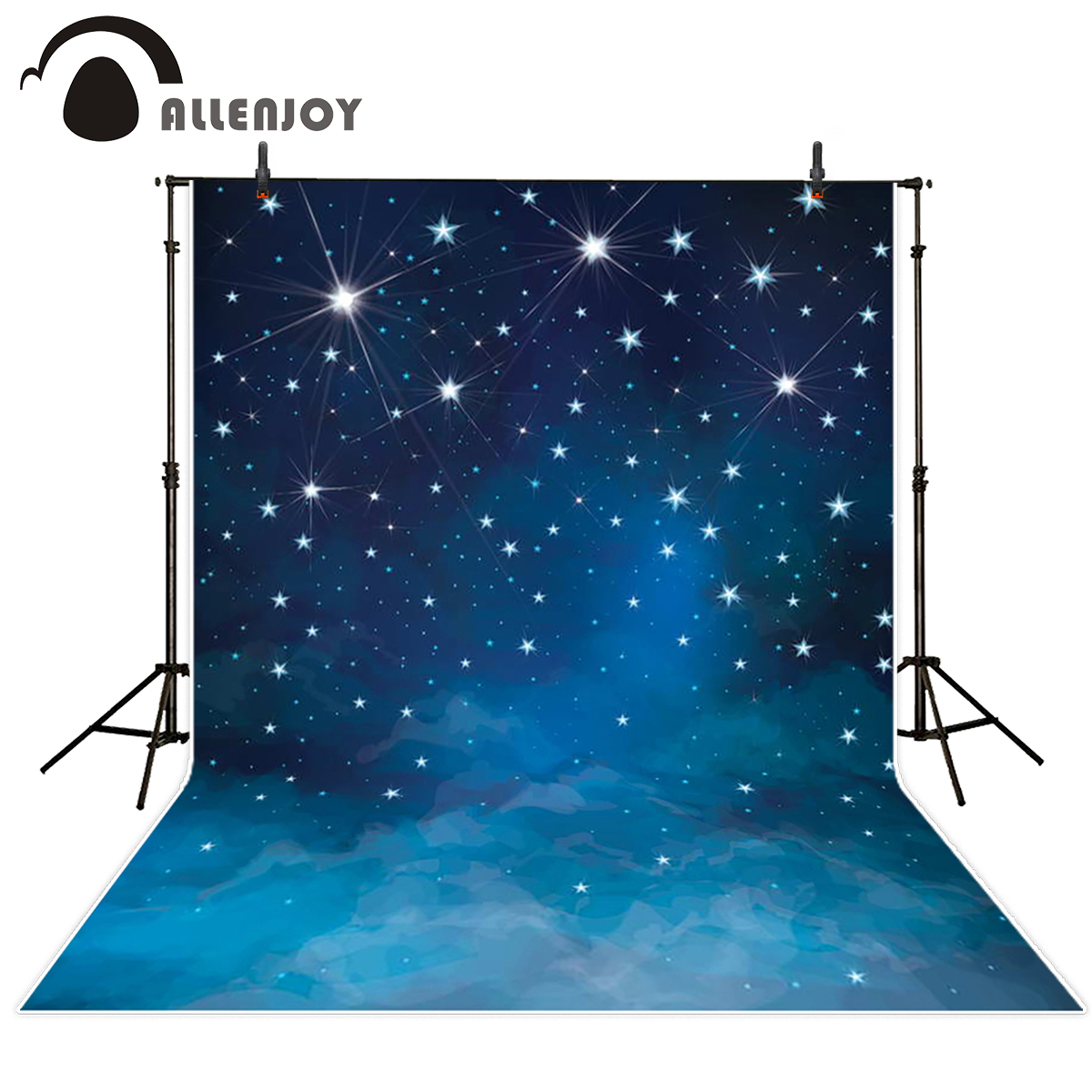 Allenjoy photographic background stars night glitter dark blue backdrops photo studio fabric newborn high quality велосипед altair city high 28 19 2015 dark blue