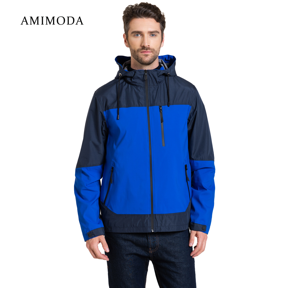 Jackets Amimoda 10023-0205 Men\'s Clothing windbreakers for men cloak jacket coat parkas hooded self tie waist solid hooded coat