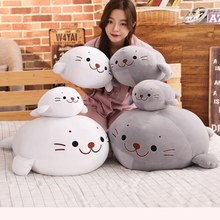 Hot 2019 New Cute Stuffed Down Cotton Sea Lion Plush Toy kawaii Animal Pillow Dolls Sofa Cushion Children Birthday Present Toy(China)