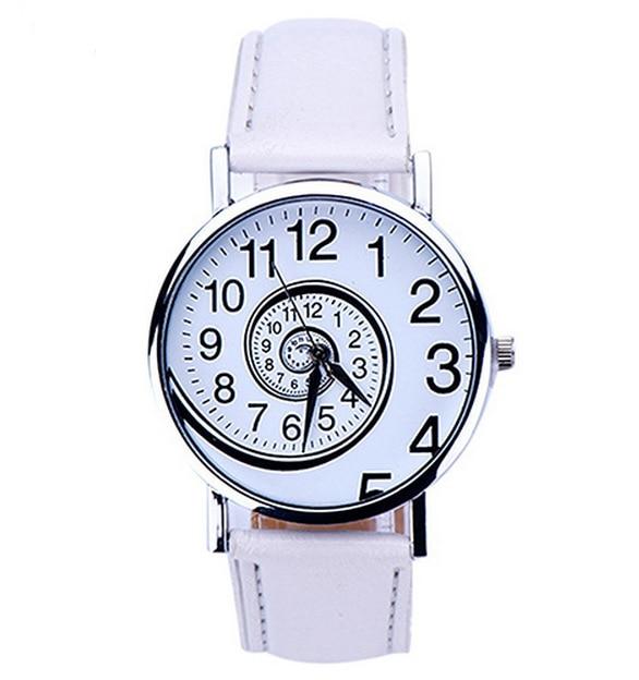 2017yearsLeisurefashionfemaleWomen Swirl Pattern Leather Analog Quartz Wrist Watch