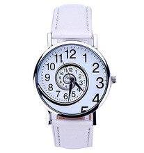 2017yearsLeisurefashionfemaleWomen Swirl Pattern Leather Analog Quartz Wrist Watch ybotti number analog quartz watch