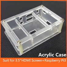 Top Quality Clear Acrylic Case Shell Housing for 3.5″ LCD HDMI Touch Screen 1920×1080 LCD Display + Raspberry Pi 3 model B