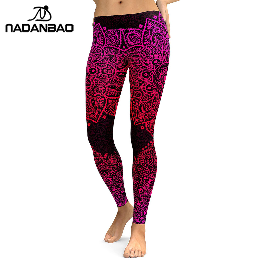 NADANBAO New Arrival Mandala Women Leggings Red Love Flower Digital Print Legging Workout Leggins High Waist Elastic Pants