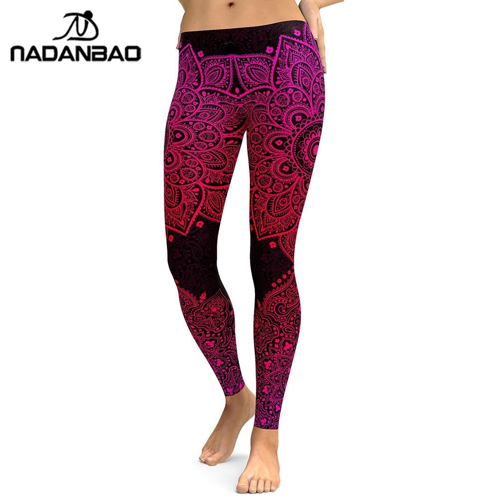 NADANBAO New Arrival Mandala Women Leggings Red Love Flower Digital Print Legging Workout Leggins High Waist Elastic Pants