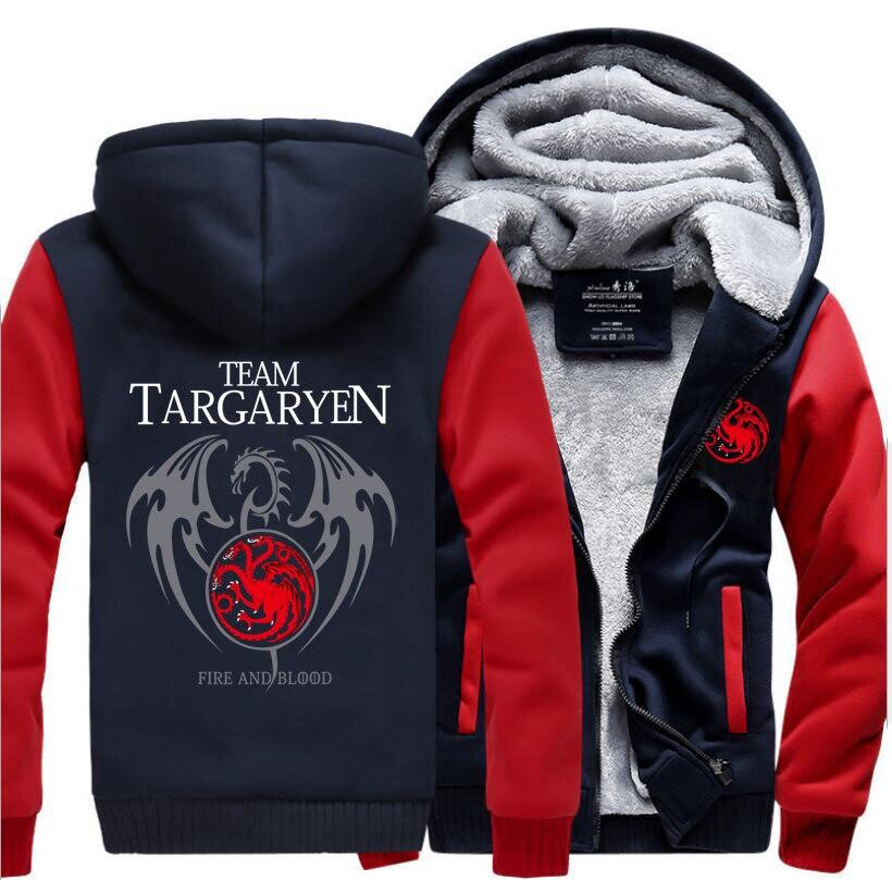 Game Of Thrones Targaryen Fire & Blood Dragon Printed Hoodies Men 2017 Winter Thick Fleece Sweatshirt Warm Jacket Plus Size Coat
