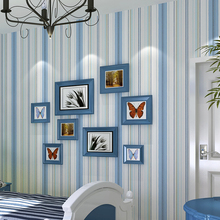 Mediterranean Wallpaper Roll Stripe Wallpapers Blue Non Woven for Bedroom Walls Pink Stripped Wall Paper Children