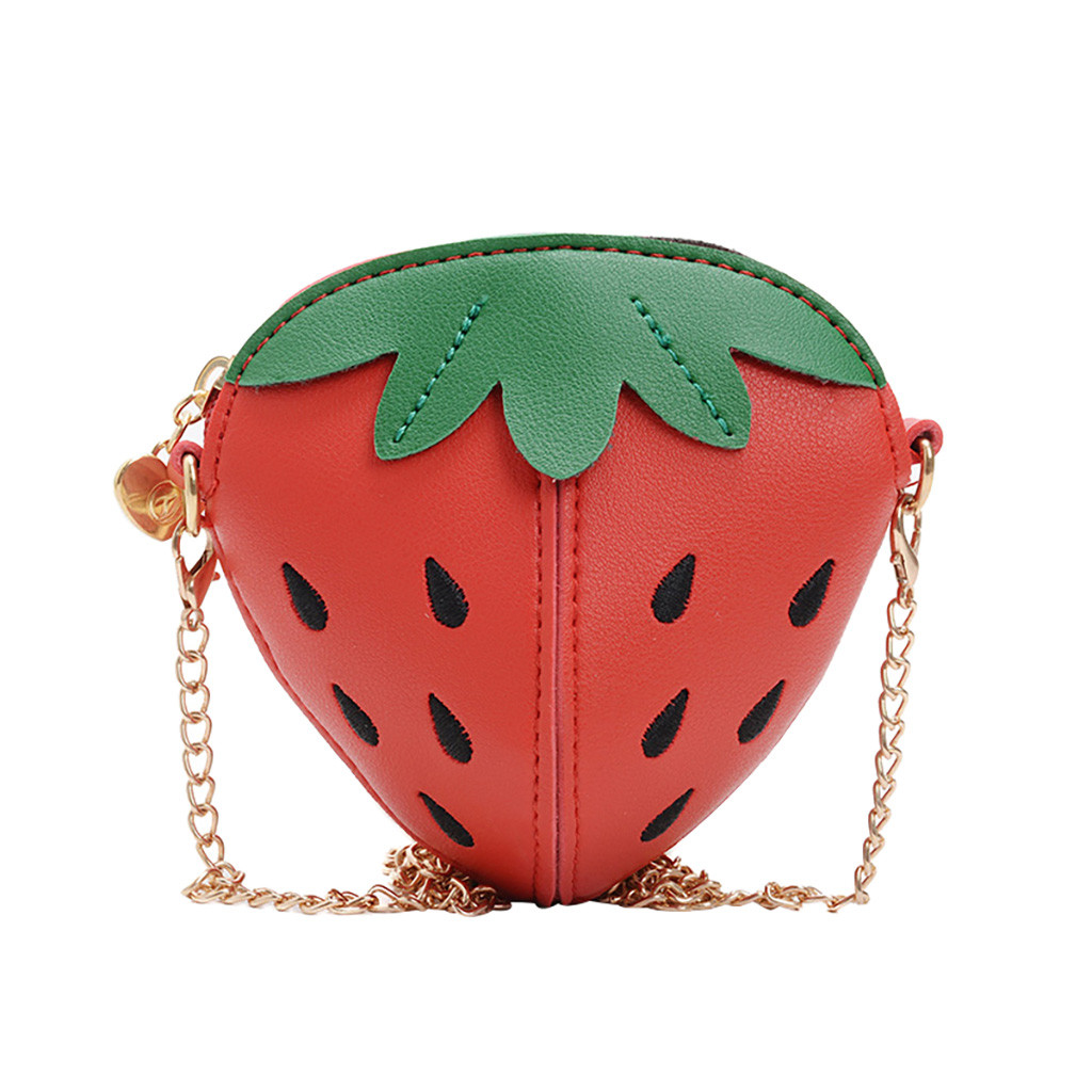 Brand Design Children Chain Small Messenger Bag Mini Flap Girl Strawberry Purses Clutch Candy Leather Korean Money Bag #T10P(China)